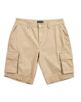 Khaki Soft Finish Cotton Cargo Shorts