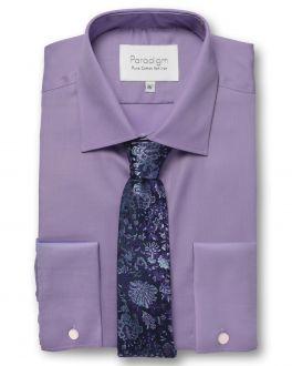 Purple Double Cuff Pure Cotton Non Iron Shirt