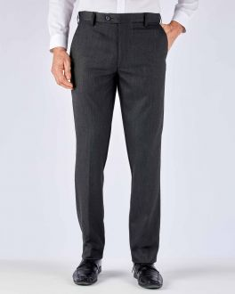 Charcoal Diamond Weave Stretch Formal Trousers