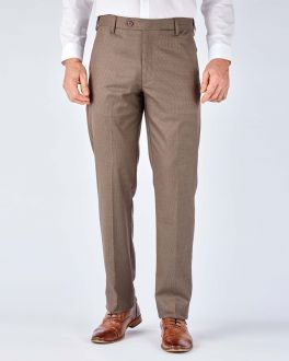 Brown Puppytooth Stretch Formal Trousers