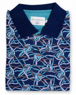 Navy Rope Printed Cotton Polo Shirt