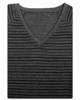 Bar Harbour Charcoal Grey Printed Stripe V-Neck T-Shirt