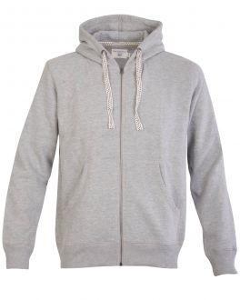 Grey Suede Finish Zip Hoodie