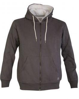 Grey Fleece Lined Zip Hoodie