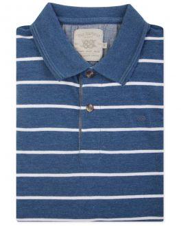 Blue Vintage Stripe Polo Shirt