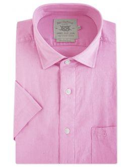 Pink Linen Blend Short Sleeve Casual Shirt