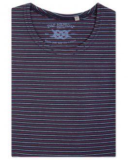 Men's Navy Multi Striped T-Shirt Front
