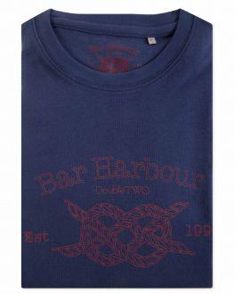 Navy Bar Harbour Print T-Shirt Front