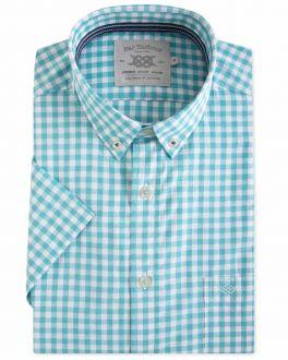 Green Gingham Dobby Short Sleeve Casual Shirt
