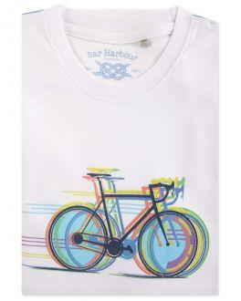 Men's White Bicycle Print T-Shirt