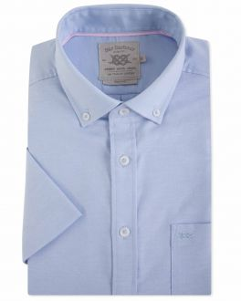 Blue Washed Oxford Short Sleeve Casual Shirt