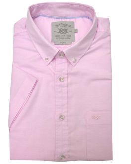 Pink Washed Oxford Short Sleeve Casual Shirt