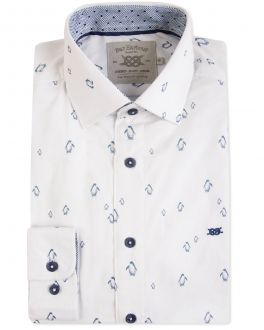 White Penguin Print Casual Shirt