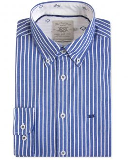 Blue and White Oxford Stripe Casual Shirt