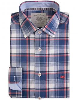 Blue and Coral Wide Check Casual Shirt