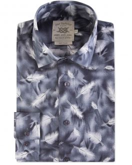 Grey Feather Print Soft Touch Casual Shirt