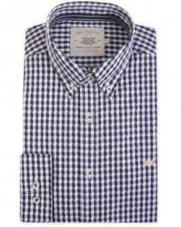 Navy and White Abstract Check Casual Shirt
