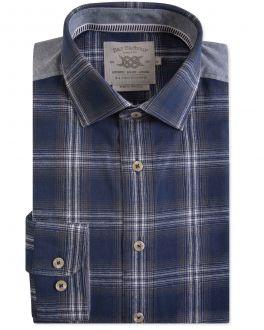 Navy Rhys Check Casual Shirt
