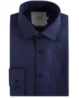 Navy Modal Herringbone Casual Shirt