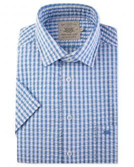 Blue Seersucker Check Short Sleeve Casual Shirt