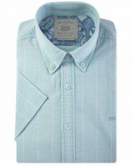 Mint Wide Stripe Short Sleeve Casual Shirt