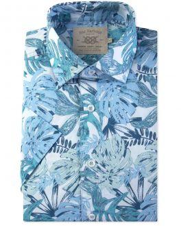 Blue Tropical Leaf Print Short Sleeve Casual Shirt