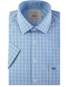 Blue and Green Check Short Sleeve Casual Shirt