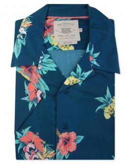 Midnight Tropical Print Short Sleeve Casual Shirt