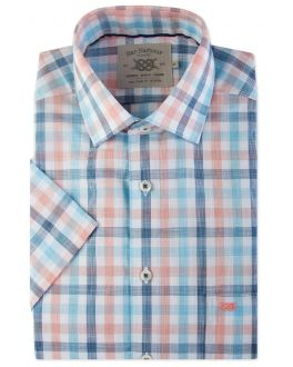 Peach and Blue Check Short Sleeve Casual Shirt