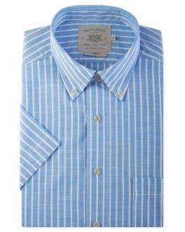 Pale Blue Stripe Short Sleeve Casual Shirt