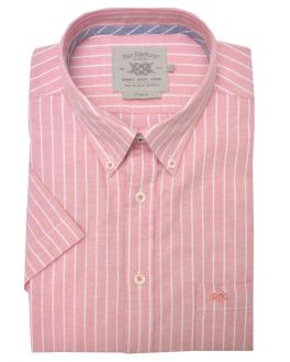 Peach and White Oxford Stripe Short Sleeve Casual Shirt
