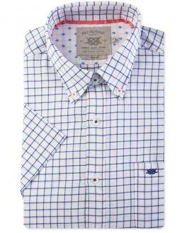Navy Square Check Short Sleeve Casual Shirt