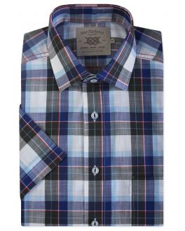 Blue, Navy & Red Check Short Sleeve Casual Shirt