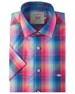Bright Rainbow Check Short Sleeve Casual Shirt