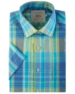 Aqua Madras Check Short Sleeve Casual Shirt