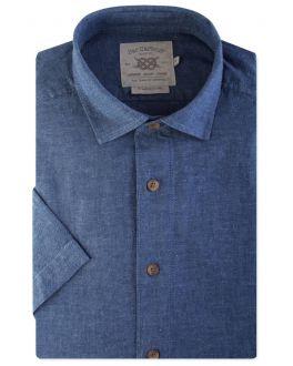 Denim Blue Linen Blend Short Sleeve Casual Shirt