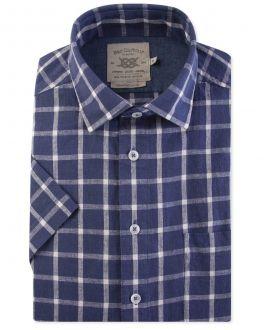 Denim and White Check Short Sleeve Casual Shirt