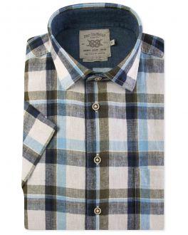 Blue and Green Check Linen Short Sleeve Casual Shirt