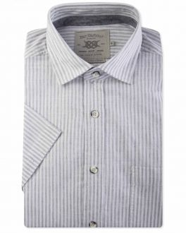 Recycled Cotton Grey and White Stripe Short Sleeve Casual Shirt