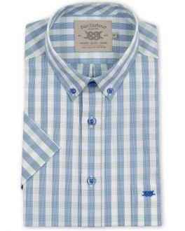 Green Square Check Short Sleeve Casual Shirt