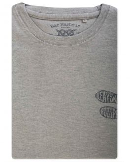 Grey Leave Only Footprints Print T-Shirt Front