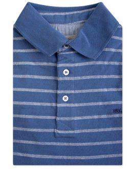 Blue Wide Stripe Polo Shirt