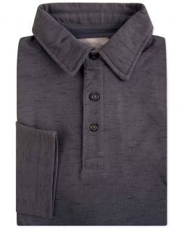 Charcoal Fleck Long Sleeve Polo Shirt