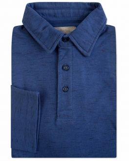 Navy Fleck Long Sleeve Polo Shirt