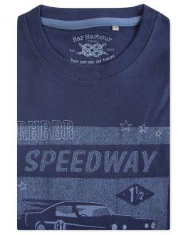 Navy Speedway Print T-Shirt