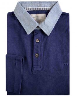 Navy Denim Collar Long Sleeve Polo Shirt