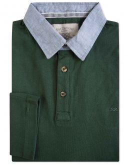 Green Denim Collar Long Sleeve Polo Shirt