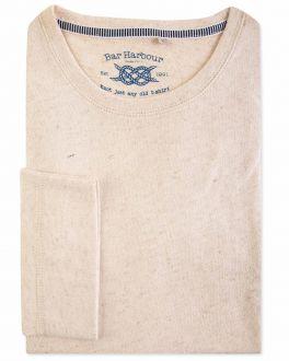 Natural Flecked Long Sleeve T-Shirt