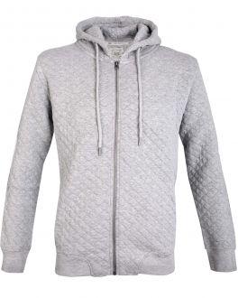 Grey Quilted Zip Hoodie