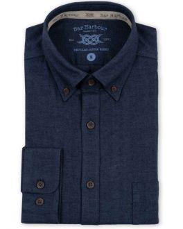 Navy Herringbone Recycled Cotton Casual Shirt